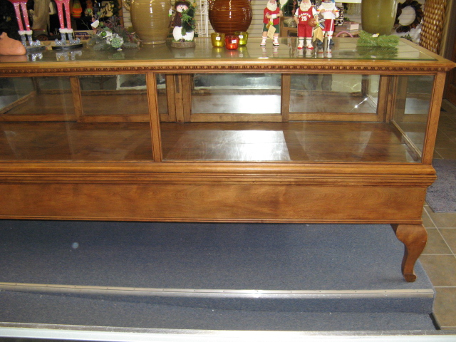 Antique Glass and Wood Carved Display Case
