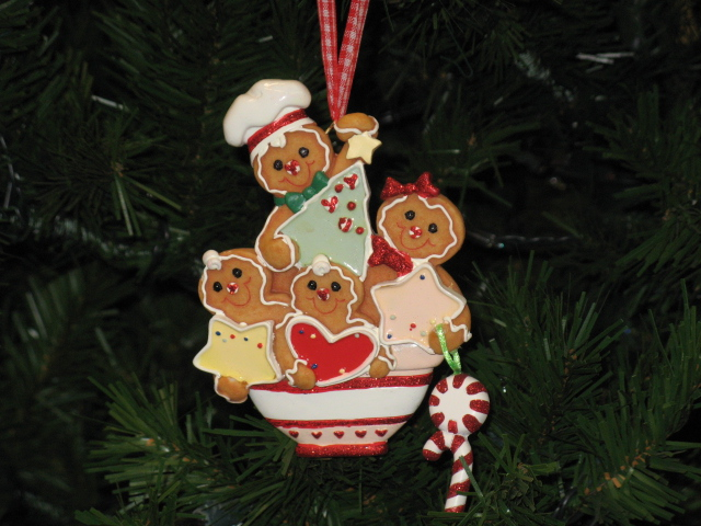 Gingerbread Family Of 4 Personalized Christmas Ornament Gift