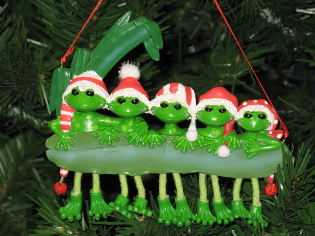 Frog Family Of 5 Personalized Christmas Ornament Gift