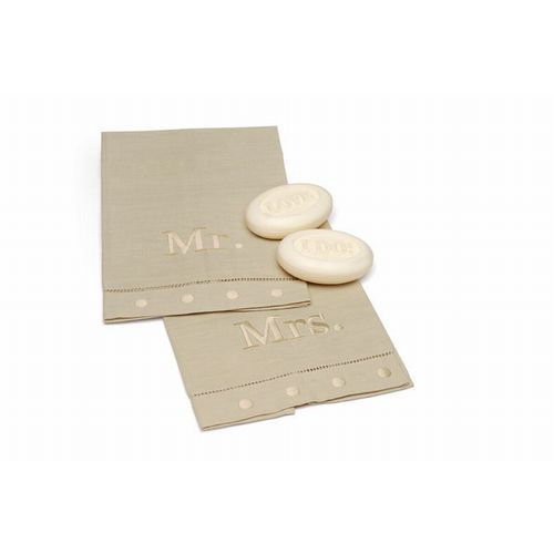 Mr and Mrs Oatmeal Linen Towel and Soap Set Mud Pie Wedding