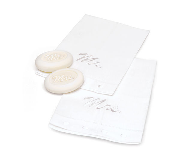 Mr and Mrs White Linen Towel and Soap Set Mud Pie Wedding
